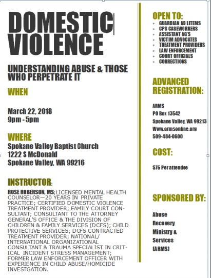 Spokane Domestic Violence Training, March 22nd